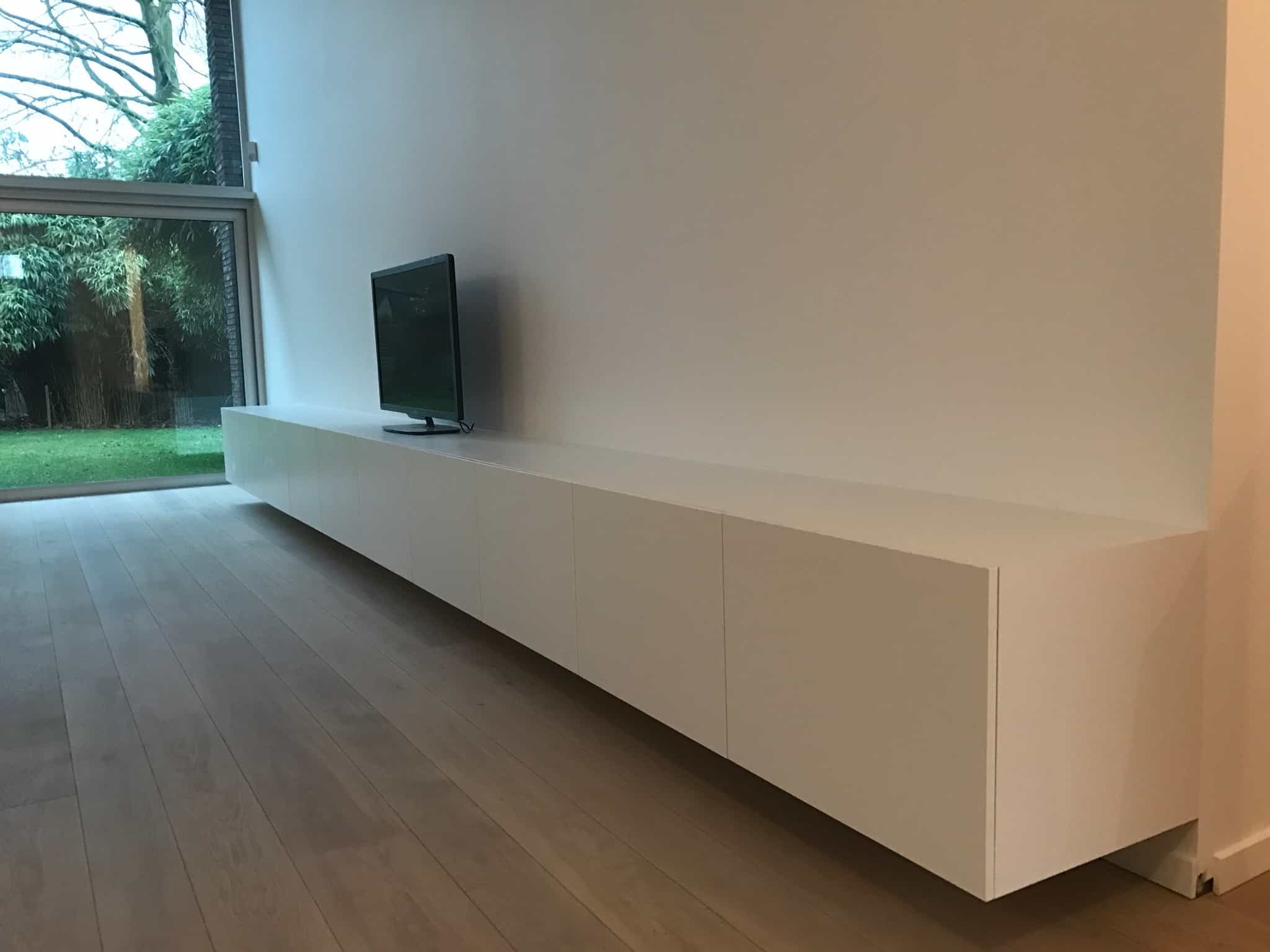 Tv meubel u zwevend u wit destelbergen dl interieur